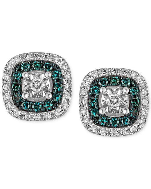 Macy's - Metallic Diamond Multicolor Stud Earrings (1/4 Ct. T.w.) In Sterling Silver - Lyst