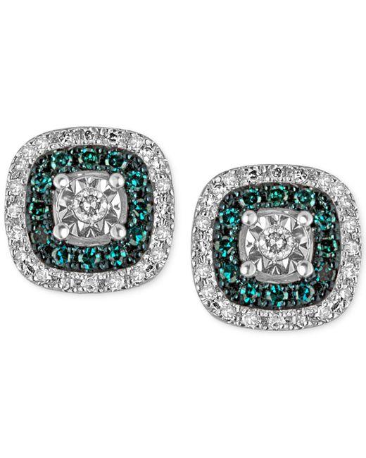 Macy's | Metallic Diamond Multicolor Stud Earrings (1/4 Ct. T.w.) In Sterling Silver | Lyst