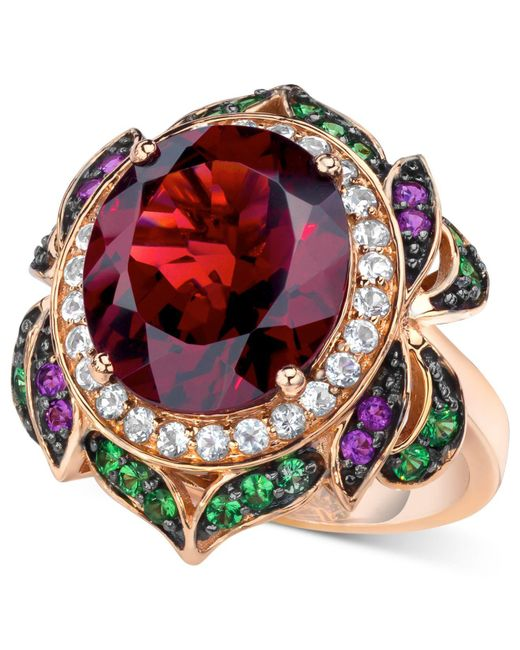 Le Vian - Pink Garnet (7-5/8 Ct. T.w.) And Multi-stone Round Flower Ring In 14k Rose Gold - Lyst