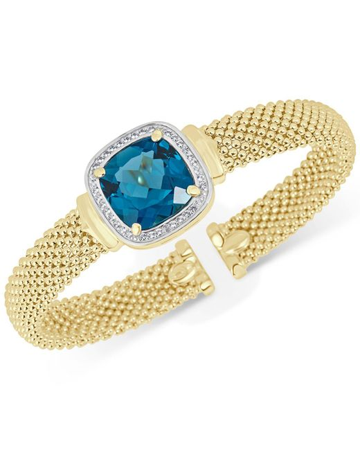 Macy's - Metallic London Blue Topaz (12-1/2 Ct. T.w.) & White Topaz (1/3 Ct. T.w.) Mesh Bracelet In 14k Gold-plated Sterling Silver - Lyst