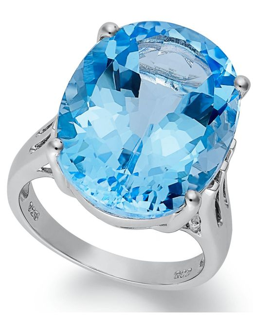 Macy's - Sterling Silver Ring, Blue Topaz Oval Ring (21-9/10 Ct. T.w.) - Lyst
