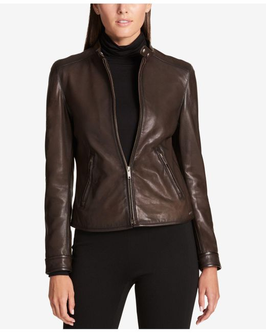 DKNY - Brown Leather Moto Jacket - Lyst