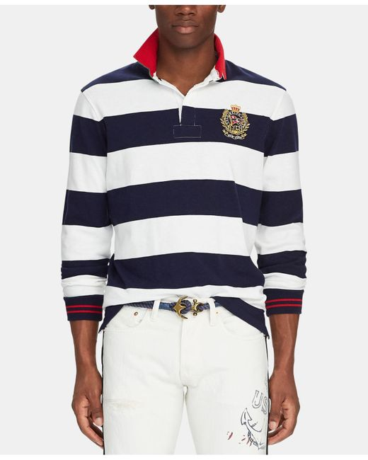 e5d630be5b2 Polo Ralph Lauren - Blue Classic-fit Striped Rugby Shirt for Men - Lyst ...