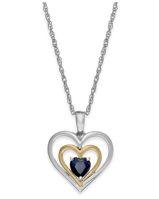 Macy's - Blue Ruby Heart Pendant Necklace In 14k Gold And Sterling Silver (5/8 Ct. T.w.) - Lyst
