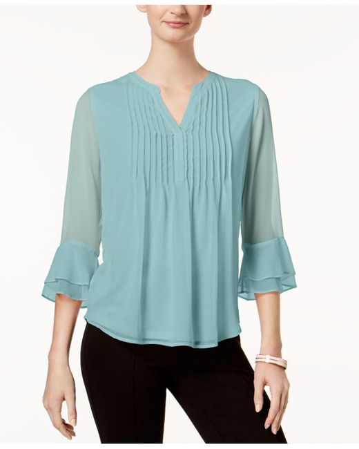 Charter Club - Blue Petite Pleated Bell-sleeve Top, Created For Macy's - Lyst