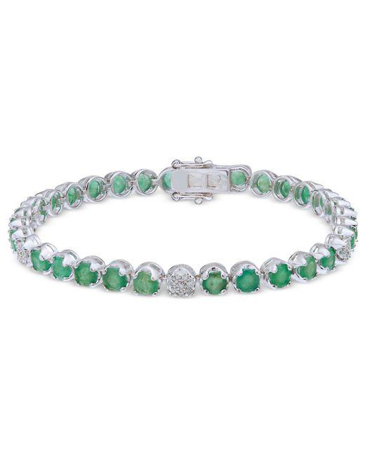Macy's - Green Emerald (7-1/2 Ct. T.w.) & Diamond (1/3 Ct. T.w.) Tennis Bracelet In Sterling Silver - Lyst