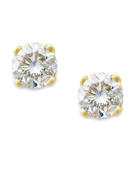 Macy's - Yellow Round-cut Diamond Stud Earrings In 10k Gold (1/10 Ct. T.w.) - Lyst