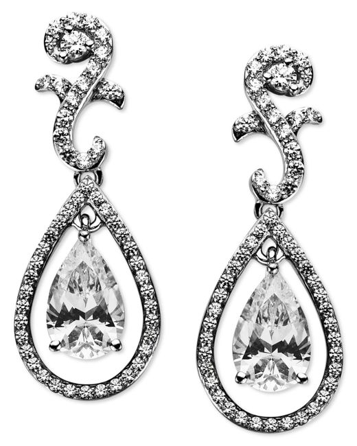 Arabella | Metallic Sterling Silver Earrings, Swarovski Zirconia Teardrop Earrings (9 Ct. T.w.) | Lyst
