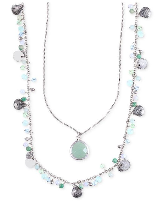 Lonna & Lilly - Blue Silver-tone Two Layer Beaded Pendant Necklace - Lyst