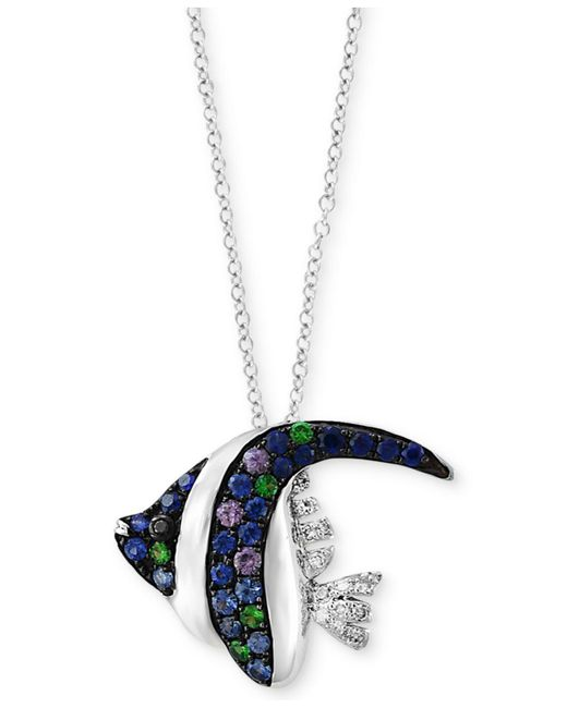 Effy Collection - Multicolor Multi-gemstone (3/8 Ct. T.w.) & Diamond Accent Angle Fish Pendant Necklace In 14k White Gold - Lyst
