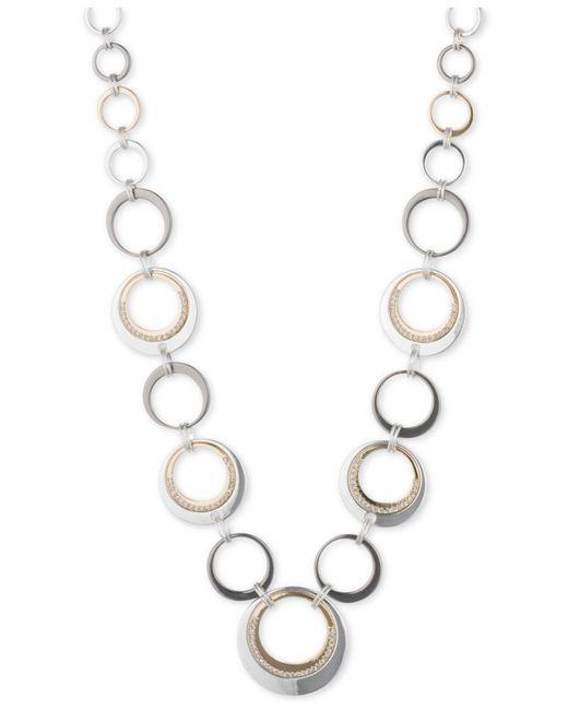 Nine West | Metallic Tri-tone Circle Collar Necklace | Lyst