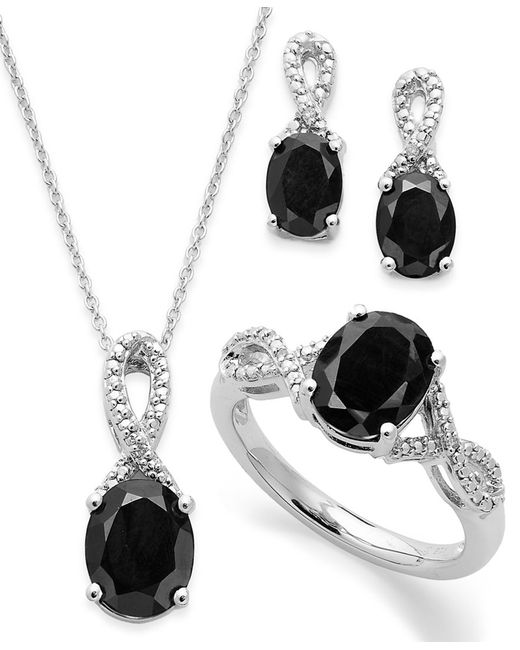 Macy's | Black Onyx (4-1/2 Ct. T.w.) And Diamond Accent Jewelry Set In Sterling Silver | Lyst
