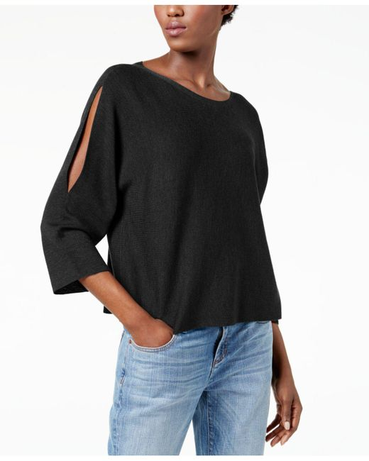 Eileen Fisher | Black Split-sleeve Sweater, Regular & Petite | Lyst