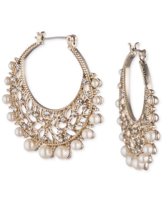 "Marchesa - Metallic Gold-tone Crystal & Imitation Pearl 1-2/5"" Filigree Hoop Earrings - Lyst"