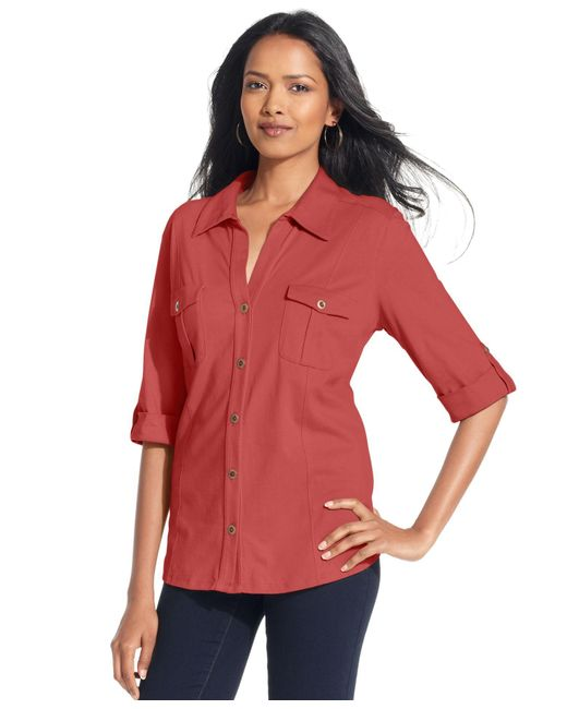 Style & Co. | Red Utility Shirt, Only At Macy's | Lyst