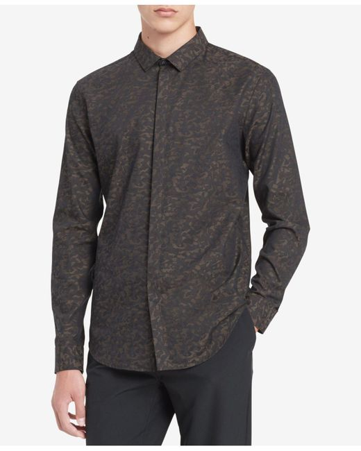 Calvin Klein | Black Men's Printed Shirt for Men | Lyst