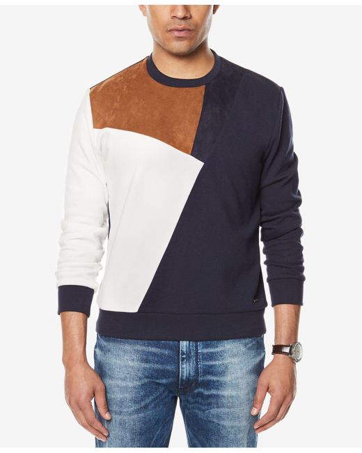 Sean John | Blue Men's Paneled Colorblocked Sweatshirt for Men | Lyst