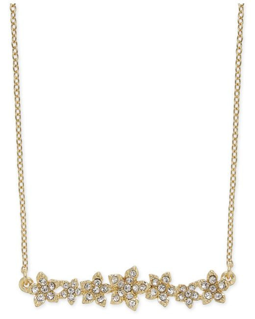 "INC International Concepts - Metallic I.n.c. International Concepts Crystal Cluster Flower Horizontal Bar Pendant Necklace, 16"" + 3"" Extender, Created For Macy's - Lyst"
