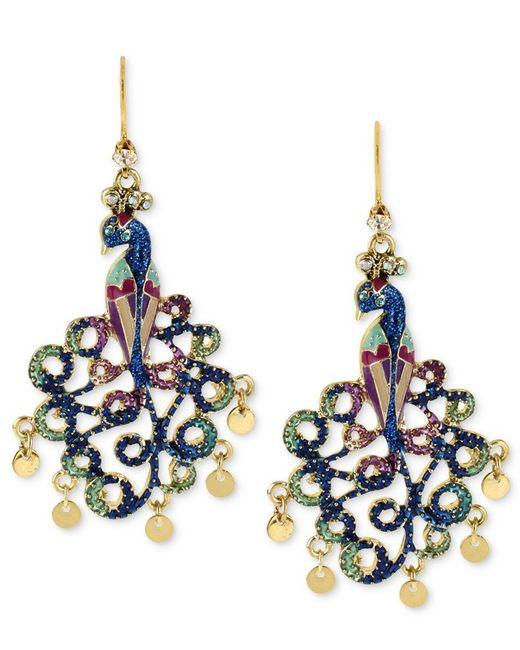 Betsey Johnson | Blue Gold-tone Peacock Drop Earrings | Lyst