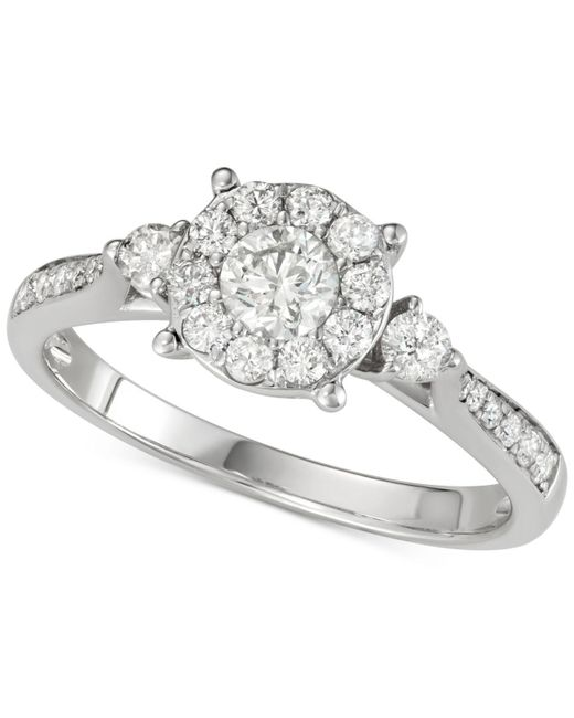 Macy's - Metallic Diamond Halo Cluster Engagement Ring (3/4 Ct. T.w.) In 14k White Gold - Lyst