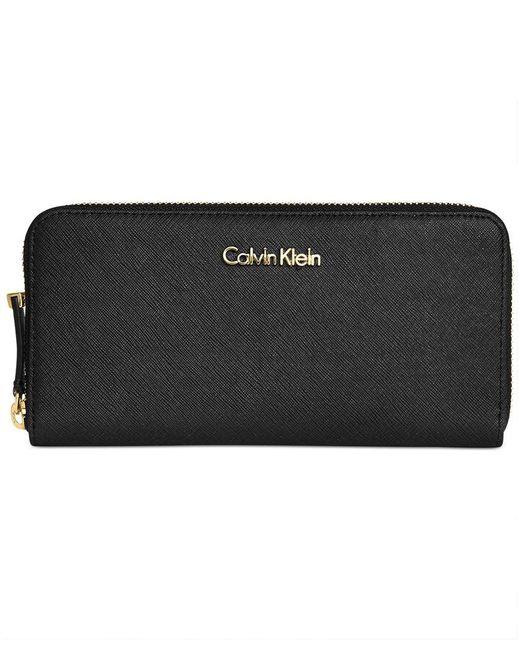 Calvin Klein | Black Saffiano Zip Around Wallet | Lyst