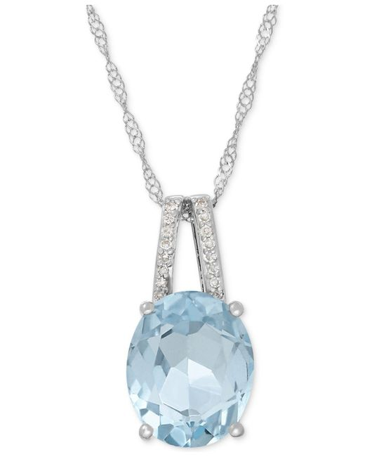 Macy's - Multicolor Aquamarine (2-1/5 Ct. T.w.) And Diamond Accent Pendant Necklace In 14k White Gold - Lyst