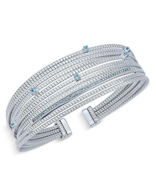 Macy's - Metallic Swiss Blue Topaz Cuff Bracelet (1/2 Ct. T.w.) In Sterling Silver - Lyst