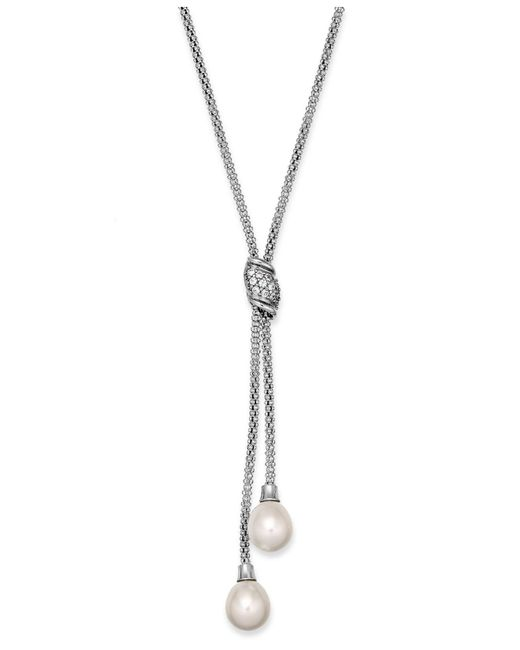 Macy's - White Cultured Freshwater Pearl (7-1/2 Mm) And Cubic Zirconia (1/4 Ct. Tw.) Lariat Necklace In Sterling Silver - Lyst
