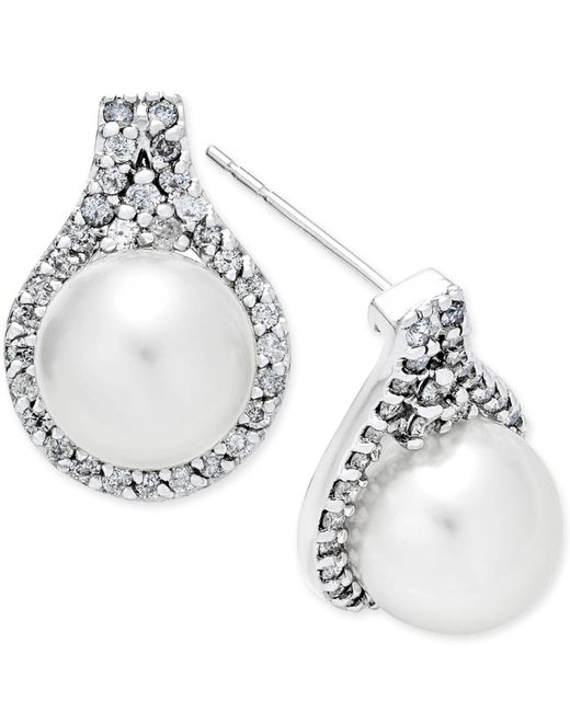 Macy's | Cultured White South Sea Pearl (9mm) And Diamond (5/8 Ct. T.w.) Drop Earrings In 14k White Gold | Lyst