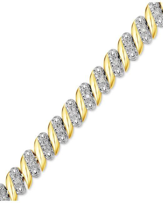 Macy's - Metallic Diamond (1/4 Ct. T.w.) Zig Zag Bracelet In 14k Gold-plated Sterling Silver - Lyst