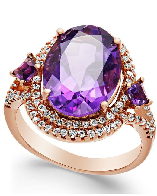 Macy's - Purple Amethyst (5-3/4 Ct. T.w.) And Diamond (3/8 Ct. T.w.) Ring In 14k Rose Gold - Lyst