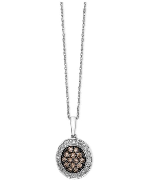 Le Vian - Brown Diamond Chocolate And White Diamond Oval Pendant (3/8 Ct. T.w.) In 14k White Gold - Lyst