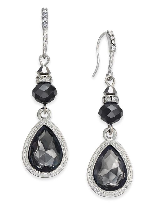 INC International Concepts | Black Silver-tone Jet Stone Drop Earrings | Lyst