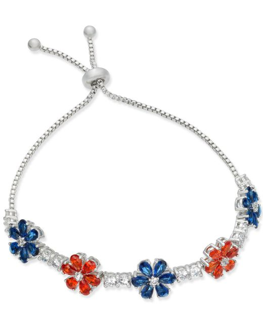 Joan Boyce | White Clear & Colored Crystal Flower Slider Bracelet | Lyst