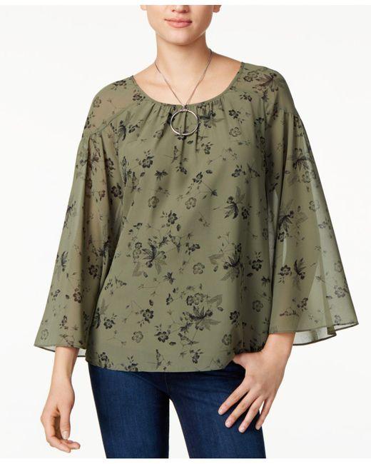 Kensie | Green Printed Scoop-neck Top | Lyst
