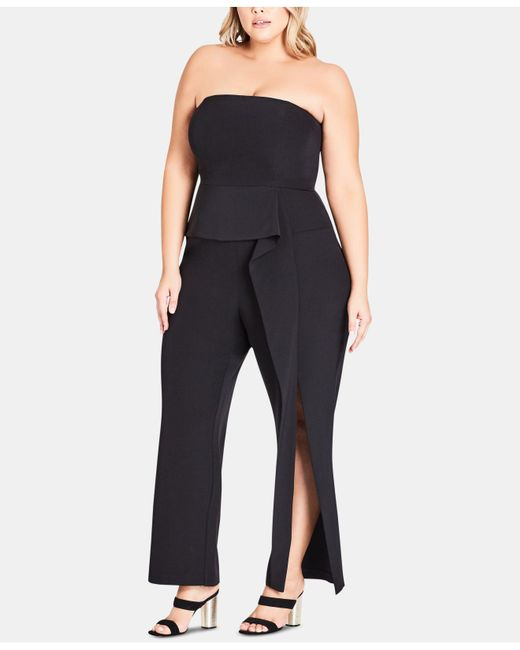 f4adaf98e0 City Chic - Black Trendy Plus Size Twister Jumpsuit - Lyst ...