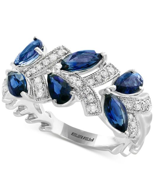 Effy Collection - Blue Sapphire (1-3/4 Ct. T.w.) & Diamond (1/8 Ct. T.w.) Stud Earrings In 14k White Gold - Lyst