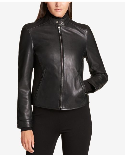 DKNY - Black Leather Moto Jacket - Lyst