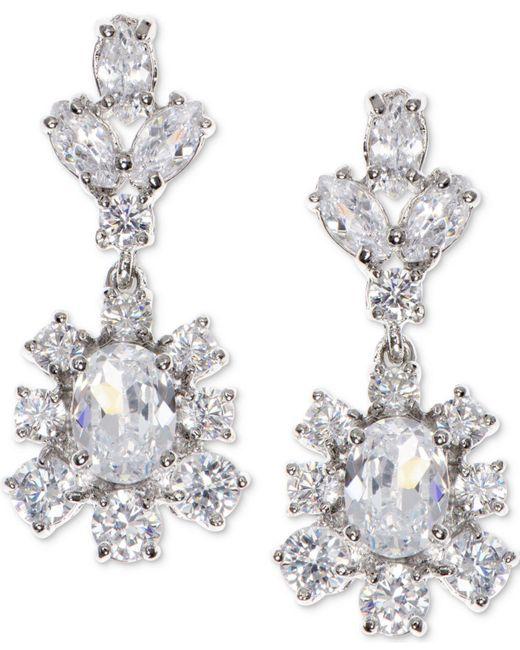 Marchesa - Metallic Silver-tone Cubic Zirconia Cluster Drop Earrings, Created For Macy's - Lyst