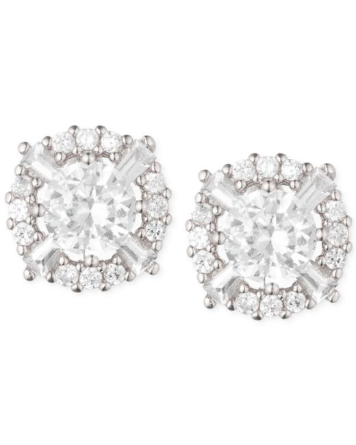 Anne Klein - Metallic Elevated Crystal Round Stud Earrings - Lyst