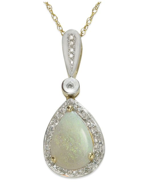 Macy's | Metallic 14k Gold And 14k White Gold Necklace, Opal (7/8 Ct. T.w.) And Diamond (1/10 Ct. T.w.) Pear-shaped Pendant | Lyst
