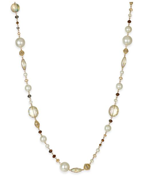 Charter Club | Metallic Gold-tone Long Beaded Statement Necklace | Lyst