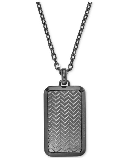 Emporio Armani | Metallic Men's Gunmetal Textured Dog Tag Pendant Necklace Egs2255 for Men | Lyst
