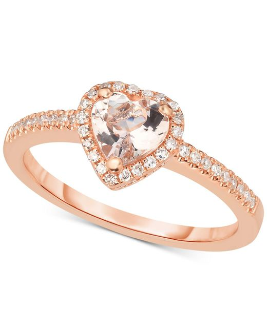 Macy's - Metallic Morganite (5/8 Ct. T.w.) & Diamond (1/6 Ct. T.w.) Ring In 14k Rose Gold - Lyst