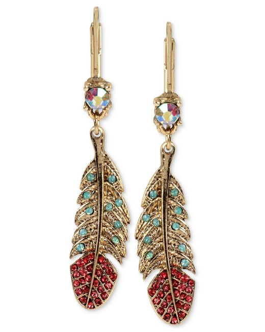 Betsey Johnson - Metallic Gold-tone Crystal And Pavé Feather Drop Earrings - Lyst