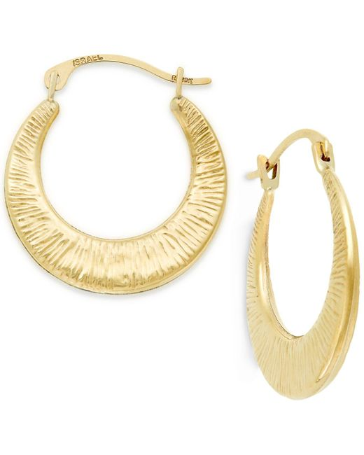 Macy's - Metallic Ribbed Hoop Earrings In 10k Gold - Lyst