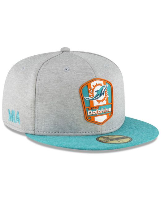 uk availability 1a217 ddaa3 KTZ - Gray Miami Dolphins On Field Sideline Road 59fifty Fitted Cap for Men  - Lyst ...