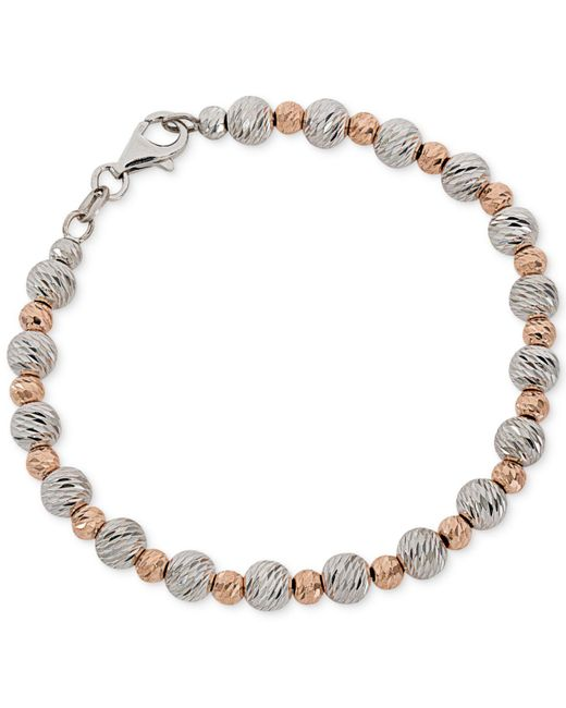 Giani Bernini - Metallic Two-tone Textured Beaded Bracelet - Lyst