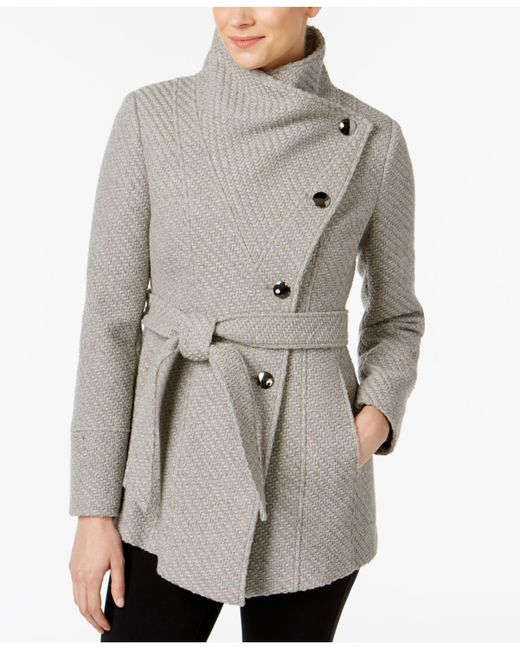 INC International Concepts - Gray Asymmetrical Belted Knit Walker Coat - Lyst