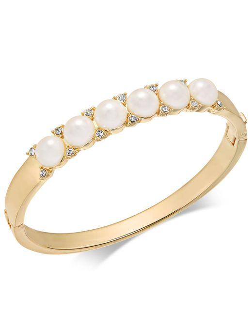 Charter Club - Metallic Gold-tone Pavé & Imitation Pearl Hinged Bangle Bracelet - Lyst